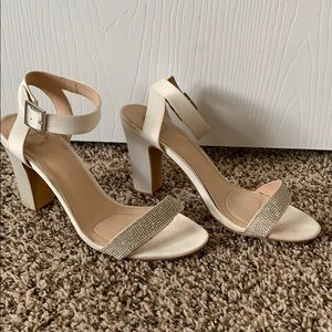 Shoes - Ivory heels with sequin detailing